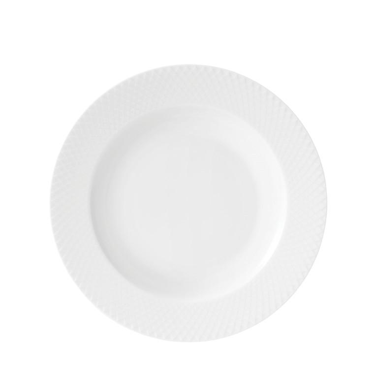 LYNGBY PORCELÆN Rhombe dyb tallerken ø 23 cm hvid