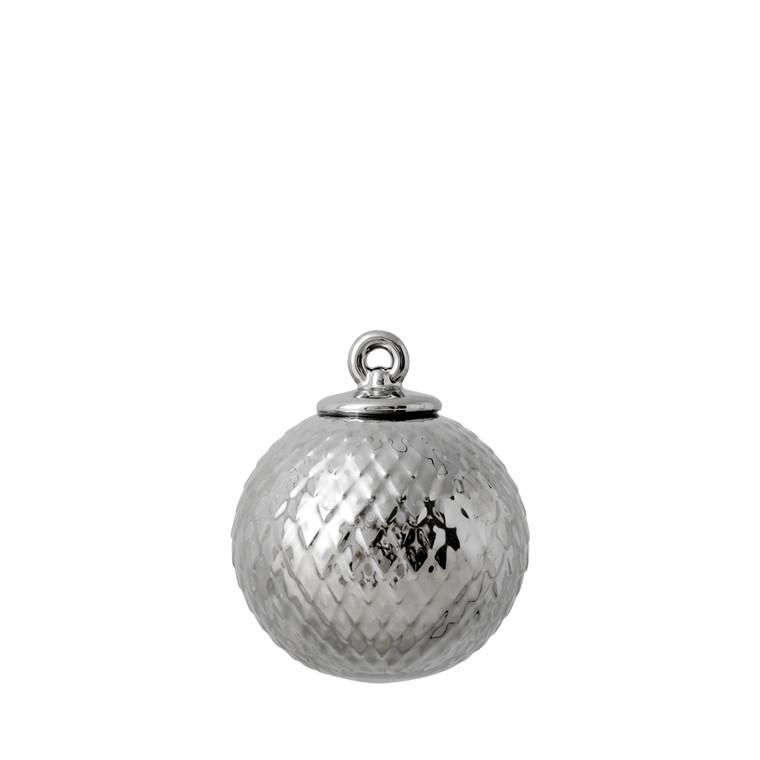 LYNGBY PORCELÆN Rhombe kugle, sølv H8,5