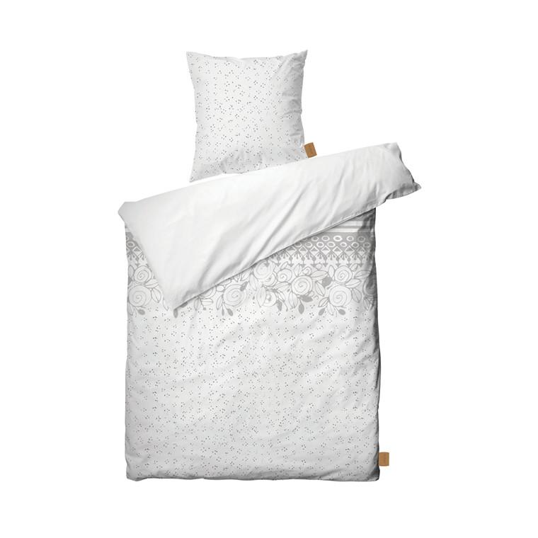 JUNA Rose Bjørn Wiinblad sengelinned 140x200 cm hvid/grå