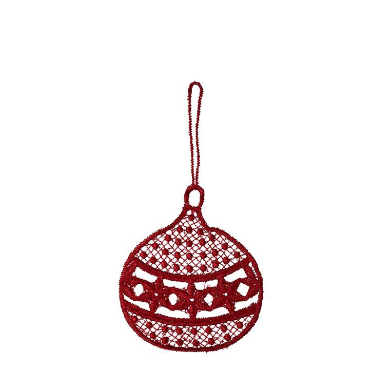 JUNA Noel Julekugle rød 8x5 cm