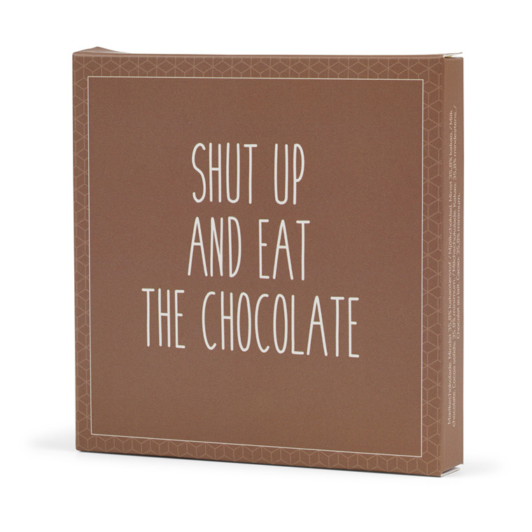 Konnerup Chokoladekort 'Shut up and eat the chocolate'