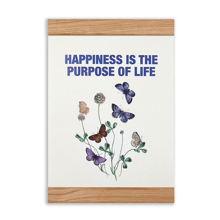 """Message Earth 2-in-one plakat og træramme """"Happiness is the purpose of life"""""""