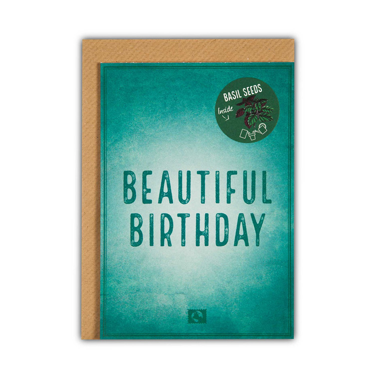 Message Earth Grow Magic Beautiful Birthday lykønskningskort med basilukumfrø