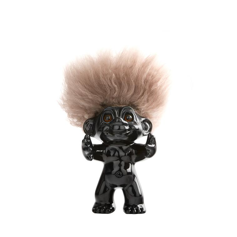 LYKKETROLD Sort/natur hår 12 cm