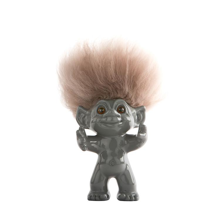 LYKKETROLD Grå/natur hår 12 cm
