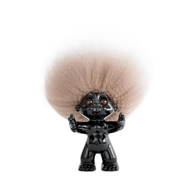LYKKETROLD Sort/natur hår 9 cm