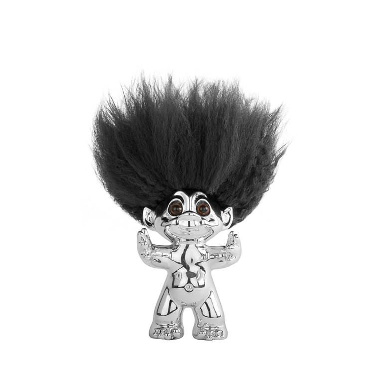 Lykketrold krom/sort hår 9 cm