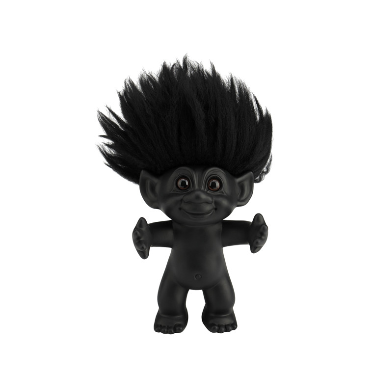 LYKKETROLD Mat sort/sort hår 12 cm