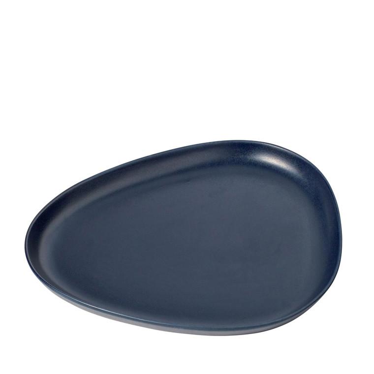 LIND DNA Stoneware platter plate navy blå 1stk