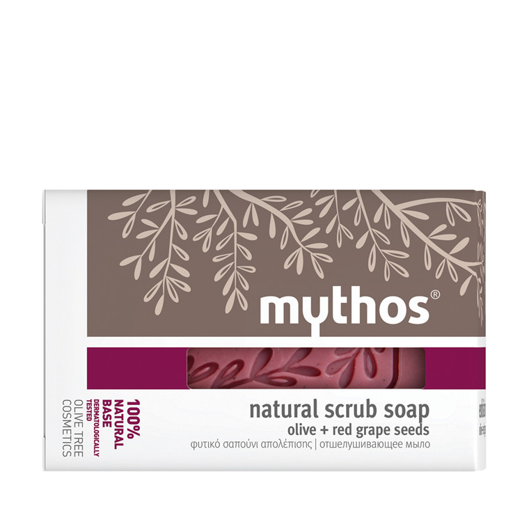 Mythos natural scrub soap olive + red grape seeds 100 g