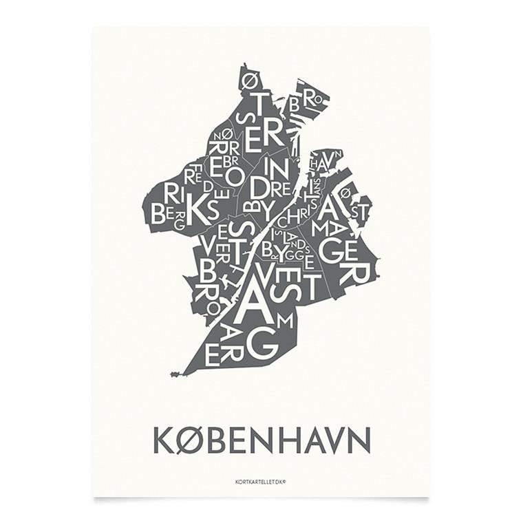 Kortkartellet København 50 X 70 cm koksgrå
