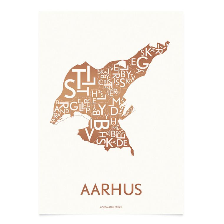 Kortkartellet Aarhus 50 x 70 cm kobber