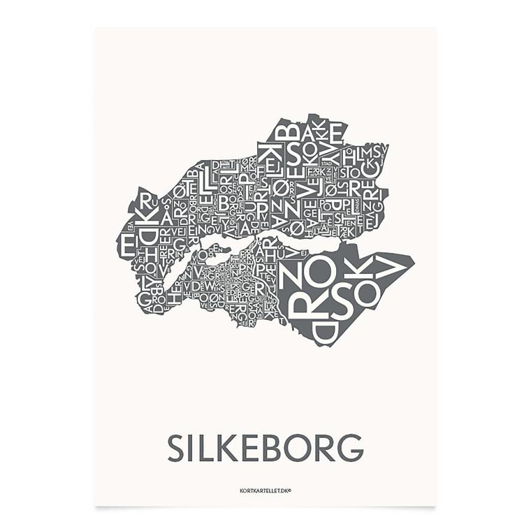 Kortkartellet Silkeborg 50 X 70 cm  koksgrå