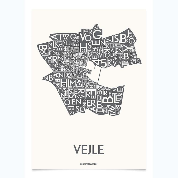 Kortkartellet Vejle 50 X 70 cm koksgrå
