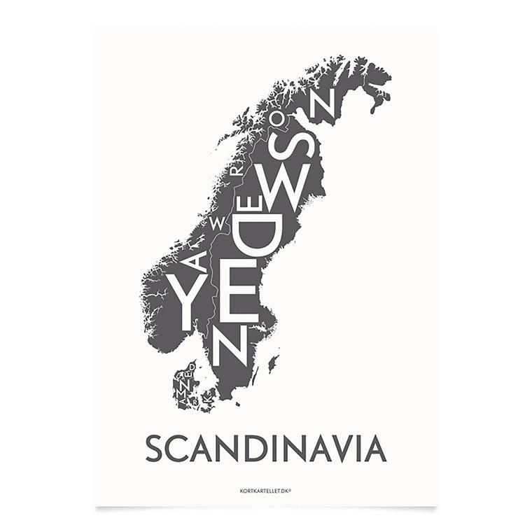 KORTKARTELLET Scandinavia 50 X 70 cm koksgrå