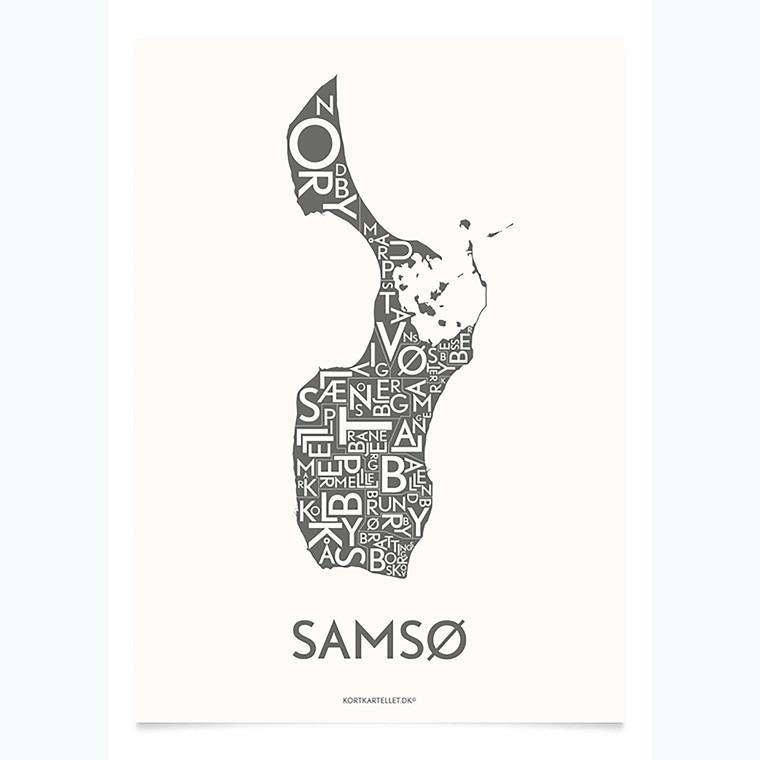 Kortkartellet Samsø 50 X 70 cm koksgrå