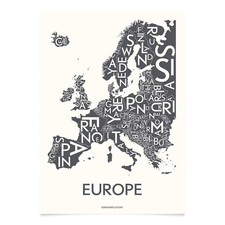 Kortkartellet Europe 50 X 70 cm koksgrå