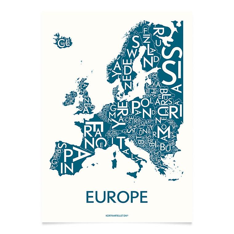 Kortkartellet Europe 50 X 70 cm petroleum