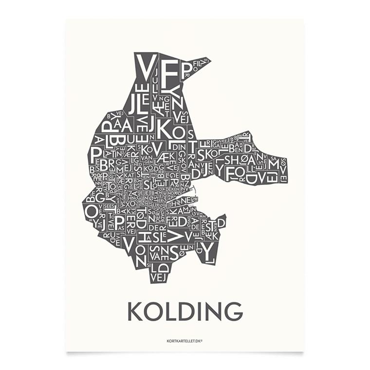 Kortkartellet Kolding 14,8 X 21 cm koksgrå