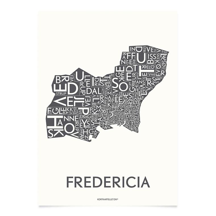 KORTKARTELLET Fredericia 14,8 X 21 cm koksgrå