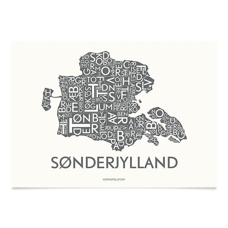 KORTKARTELLET Sønderjylland  14,8 X 21 cm koksgrå