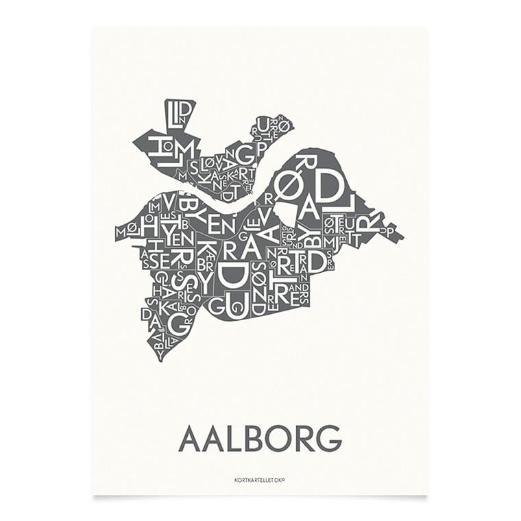 KORTKARTELLET Aalborg 14,8 X 21 cm koksgrå