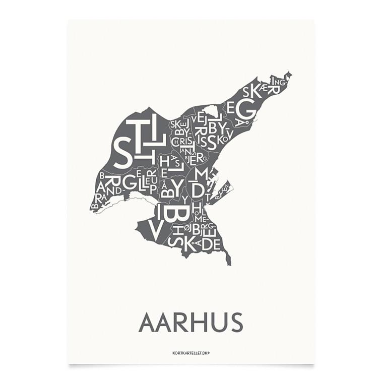 Kortkartellet Aarhus Midtby 14,8 X 21 cm koksgrå