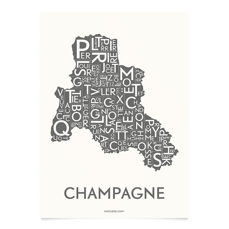 Kortkartellet Champagne 14,8 X 21 cm koksgrå