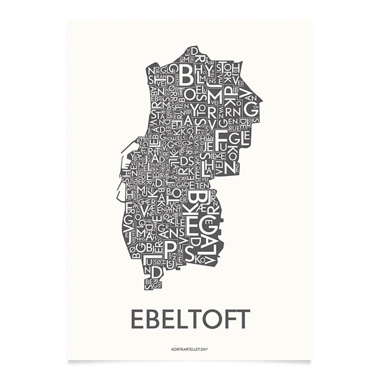 Kortkartellet Ebeltoft 14,8 X 21 cm koksgrå