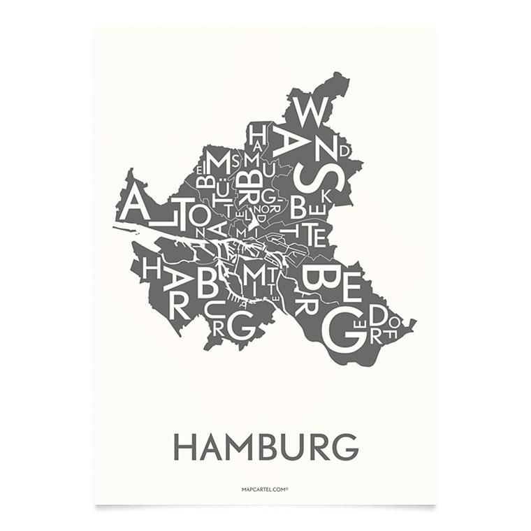 Kortkartellet Hamburg 14,8 X 21 cm koksgrå