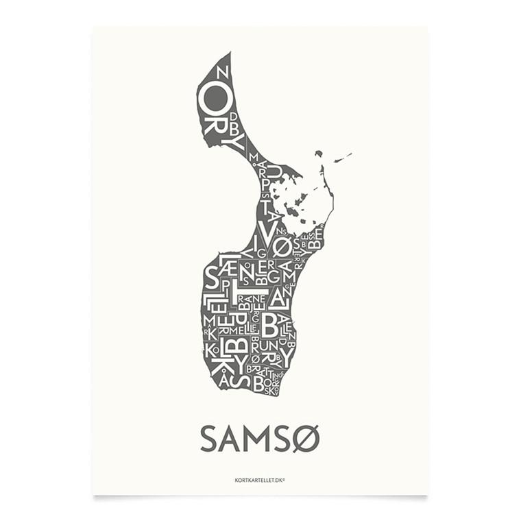 Kortkartellet Samsø 14,8 X 21 cm koksgrå