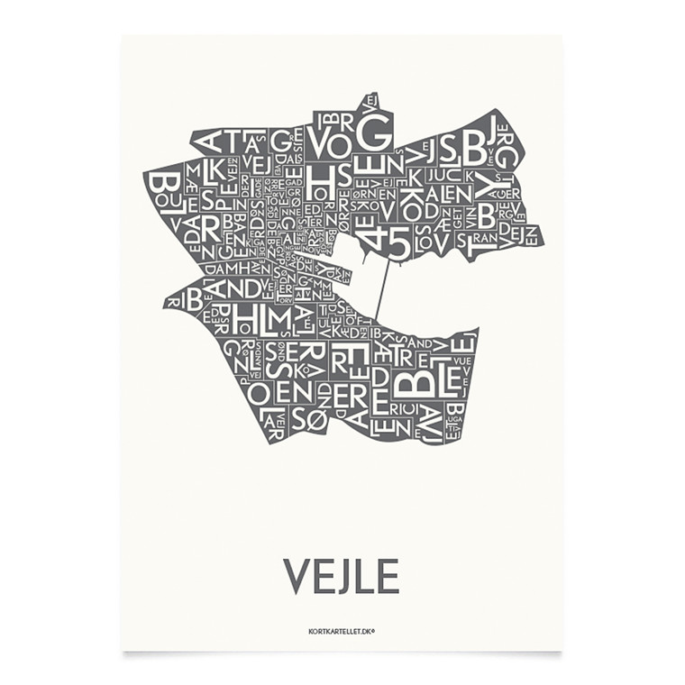 Kortkartellet Vejle 14,8 X 21 cm koksgrå