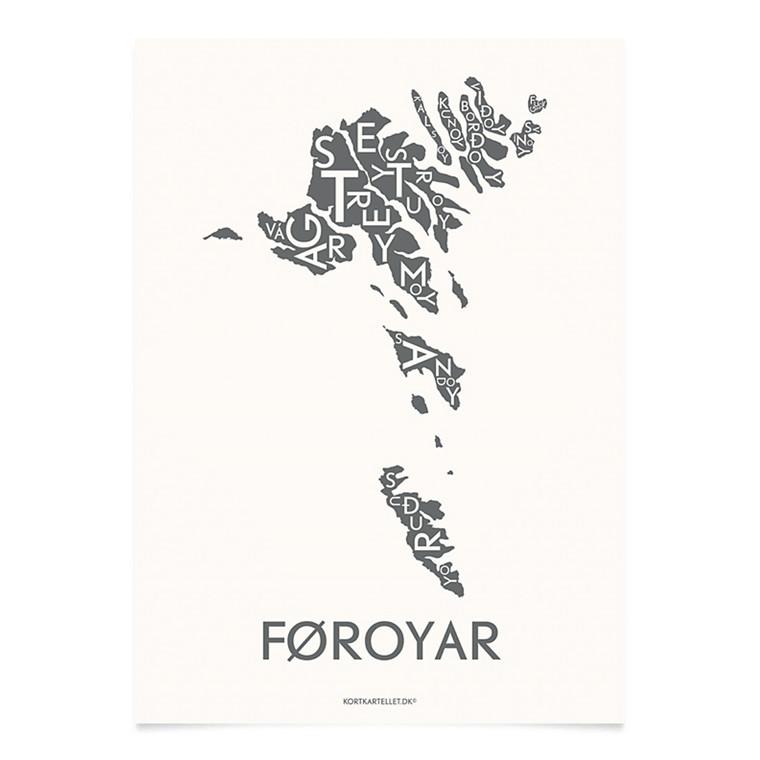 Kortkartellet Føroyar 14,8 X 21 cm koksgrå