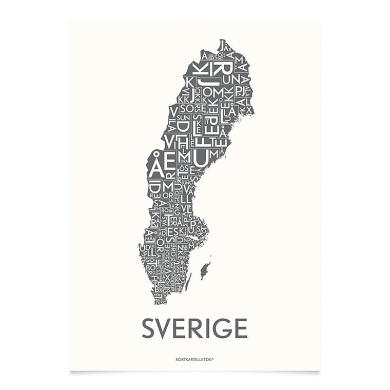 Kortkartellet Sverige 14,8 X 21 cm koksgrå