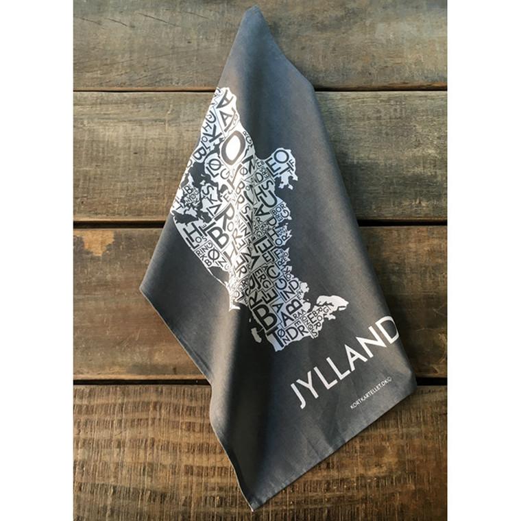 Kortkartellet viskestykke Jylland koksgrå
