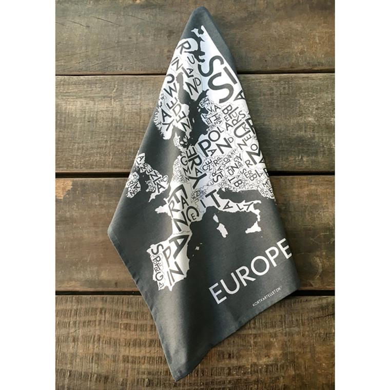 Kortkartellet viskestykke Europe koksgrå