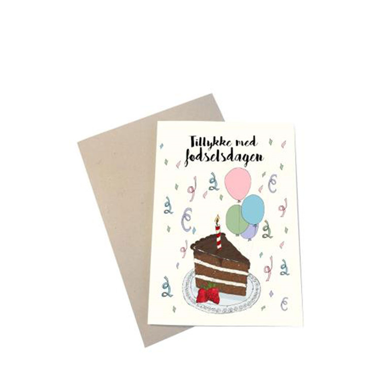 "MOUSE AND PEN ILLUSTRATION ""Tillykke med fødselsdagen"" kort inkl. kuvert"