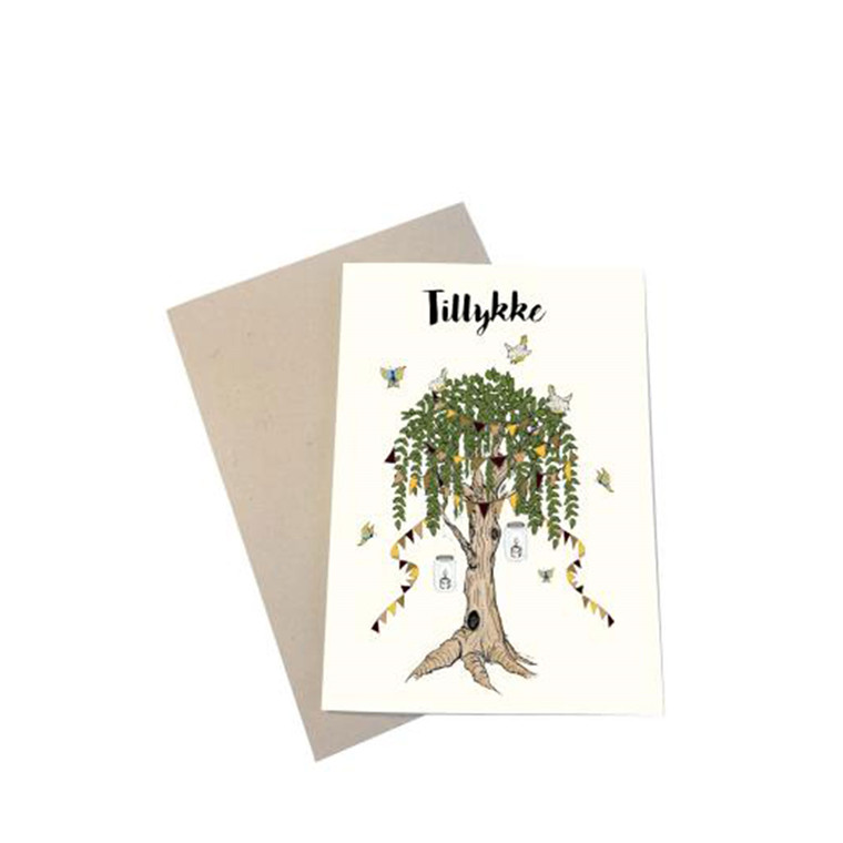 "MOUSE AND PEN ILLUSTRATION ""Tillykke"" kort inkl. kuvert"