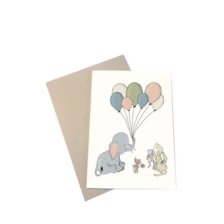 "MOUSE AND PEN ILLUSTRATION ""Elephant Balloon"" kort inkl. kuvert"