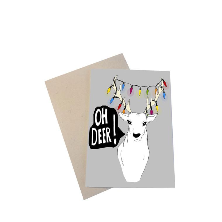 """MOUSE AND PEN ILLUSTRATION """"Oh deer"""" kort inkl. kuvert"""