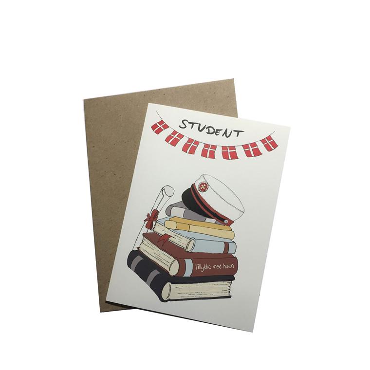 "MOUSE AND PEN ILLUSTRATION ""Tillykke med huen - rød"" kort inkl. kuvert"