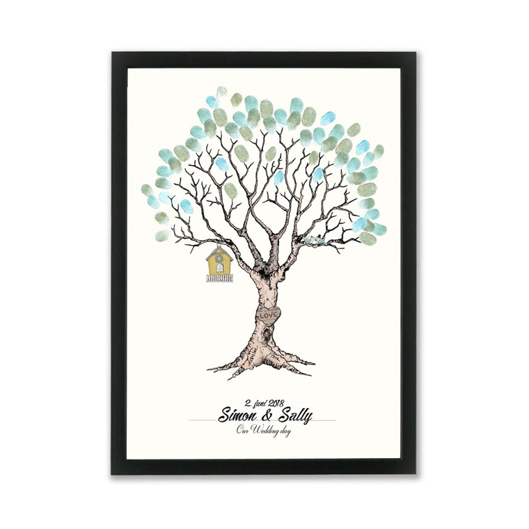 """MOUSE AND PEN ILLUSTRATION """"Wedding tree green"""" A3"""