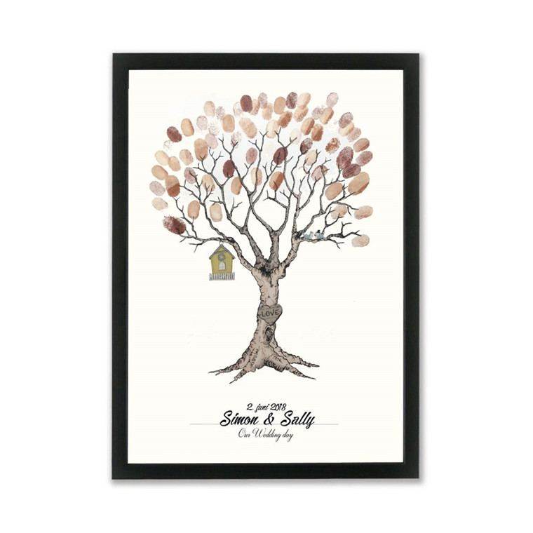 """MOUSE AND PEN ILLUSTRATION """"Wedding tree brown"""" A3"""