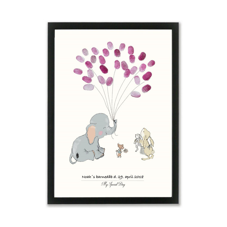 """MOUSE AND PEN ILLUSTRATION """"Baby Elephant ballon - pige"""" A3"""