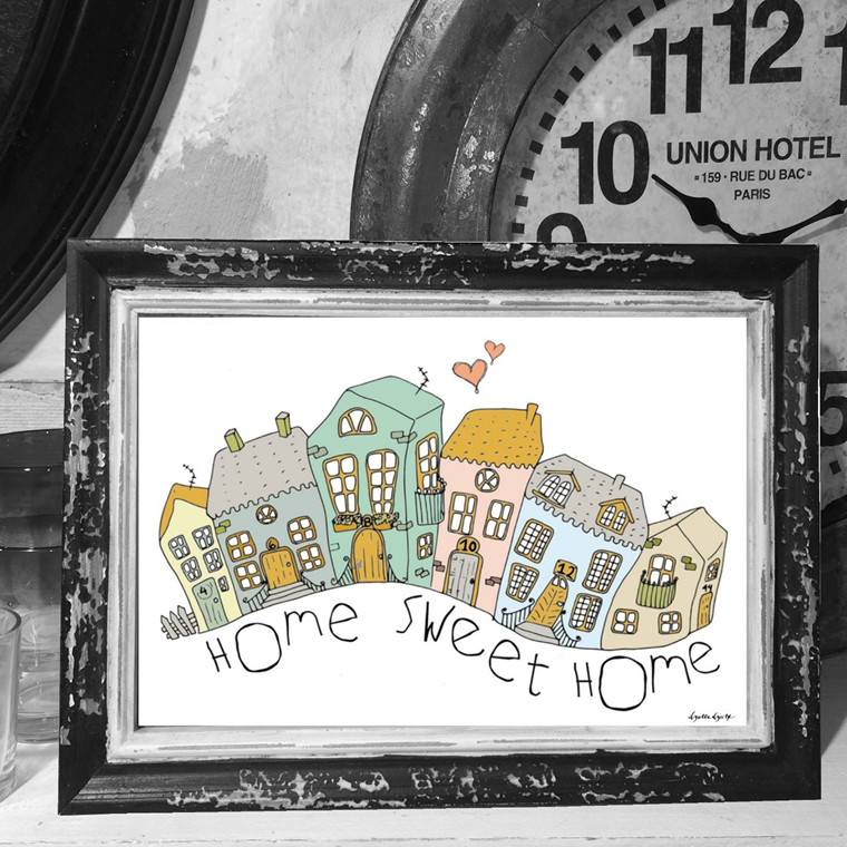 "Mouse and Pen Illustration ""Home sweet home"" A4"