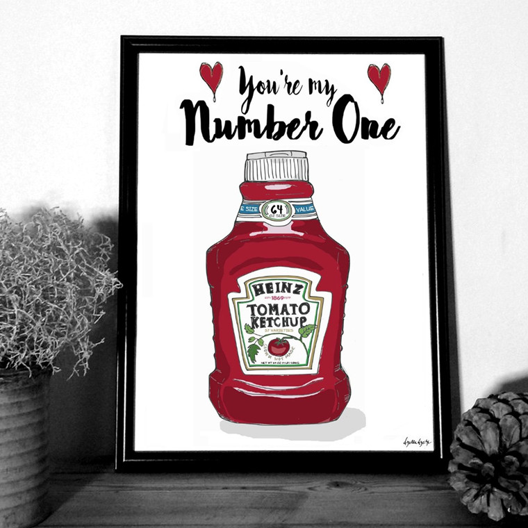 "MOUSE AND PEN ILLUSTRATION ""Heinz - You're my number one"" A4"