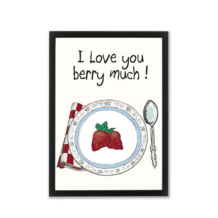 "MOUSE AND PEN ILLUSTRATION ""I love you berry much"" A4"
