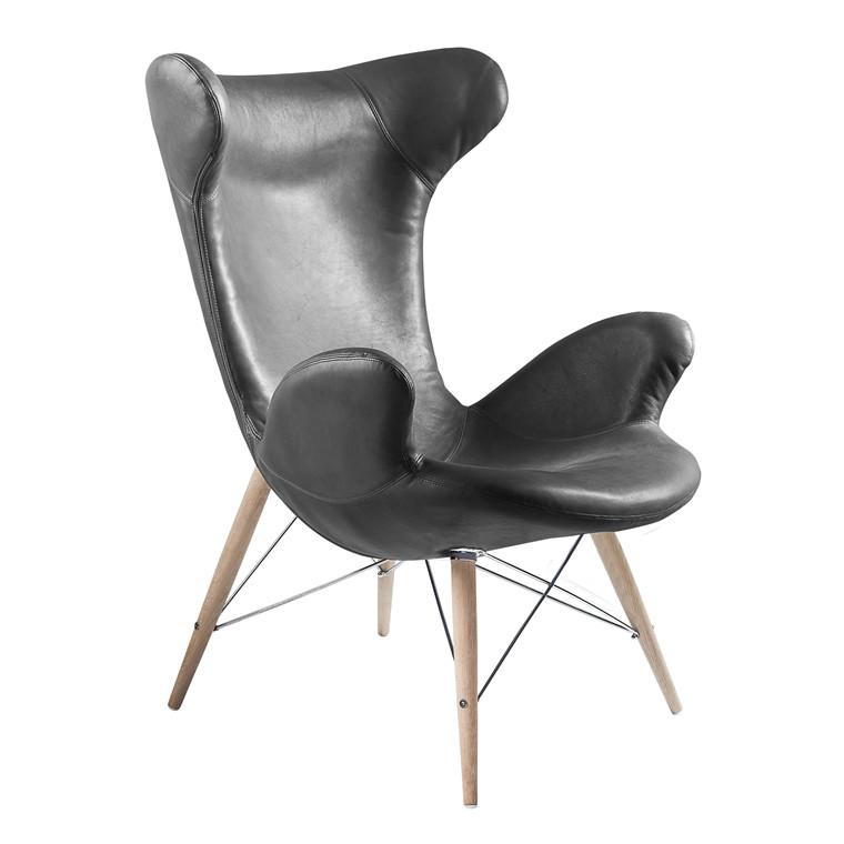 VICTOR® loungestol i læder sort