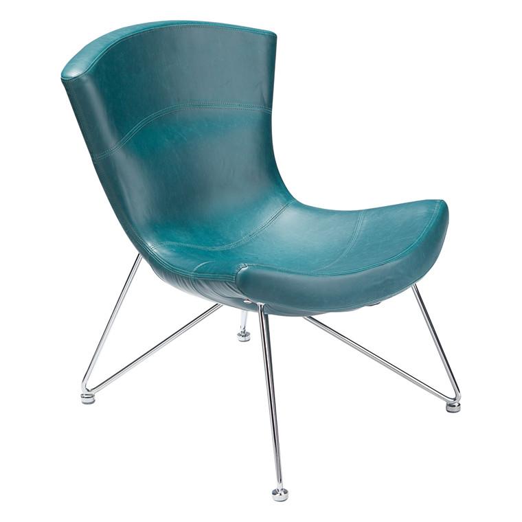 SLOPE loungestol ïmiteret læder blå