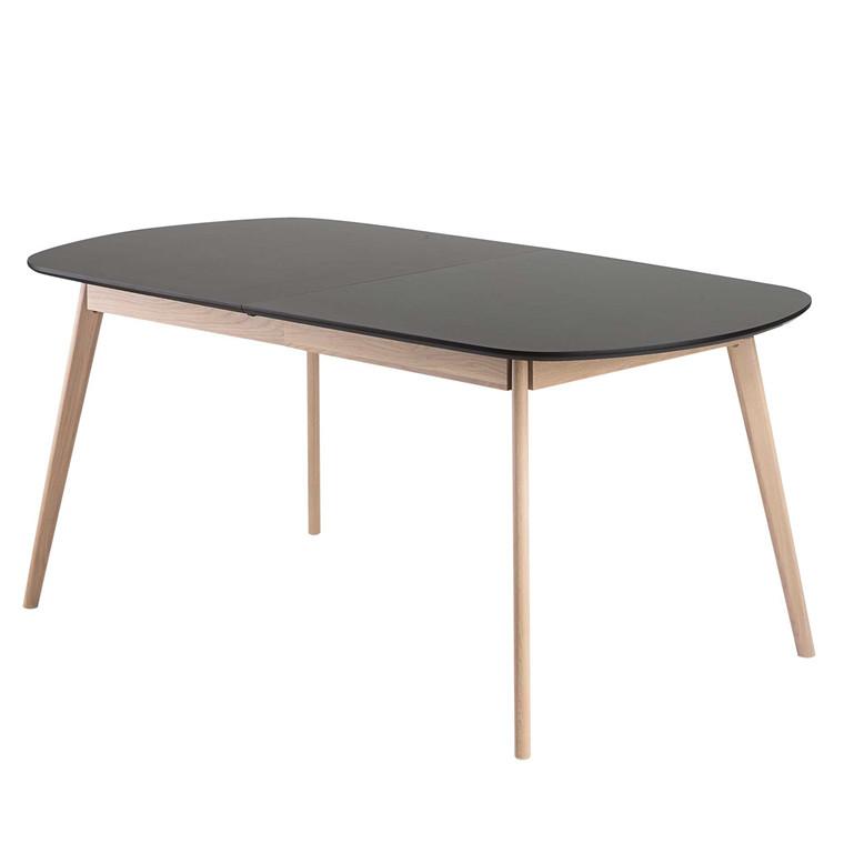 BLOOM spisebord i laminat med udtræk sort L 175-255 x B 90 cm